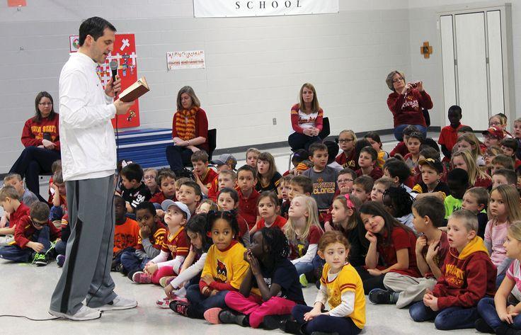 Iowa State men's basketball coach Steve Prohm visited St. Cecilia School on Thursday as part of Catholic Schools Week celebrations. Photo by Sarina Rhinehart/Ames Tribune  http://amestrib.com/news/coach-prohm-pays-surprise-visit-st-cecilia-school