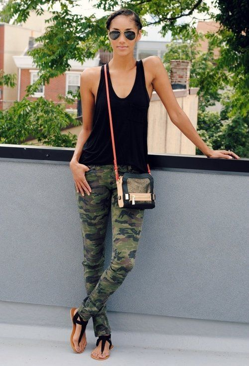 What to Wear with Camo Skinny Jeans - Glam Bistro  Finally! No retarded ballet flats or spiked heels with camos!
