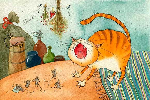 Book illustration, crying cat