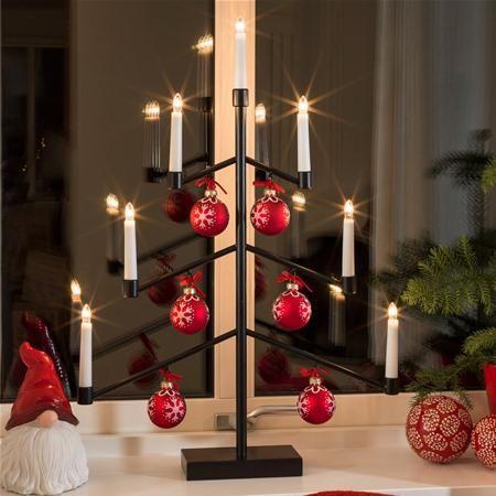 Konstsmide 3560-710 Black Candle Bridge with Christmas Decorations