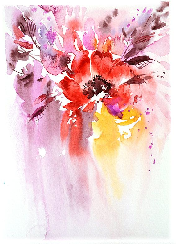 Sunshine watercolor flower print abstract floral painting