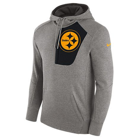 NIKE MEN'S PITTSBURGH STEELERS NFL FLY FLEECE HOODIE, GREY. #nike #cloth #