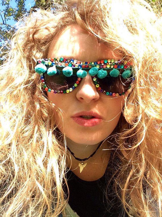 Pom Pom funky funk sunglasses. Rhinestone sunglasses. Novelty sunglasses. Fancy dress accessory. Elton John eye wear. Colourful shades