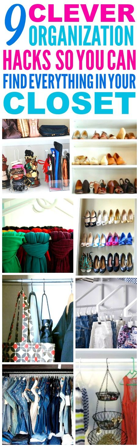 These 9 Closet Organization Hacks are THE BEST! I'm so glad I found these AWESOME tips! Now I have some great ways to clean and organize my small closet and find everything! Definitely pinning!