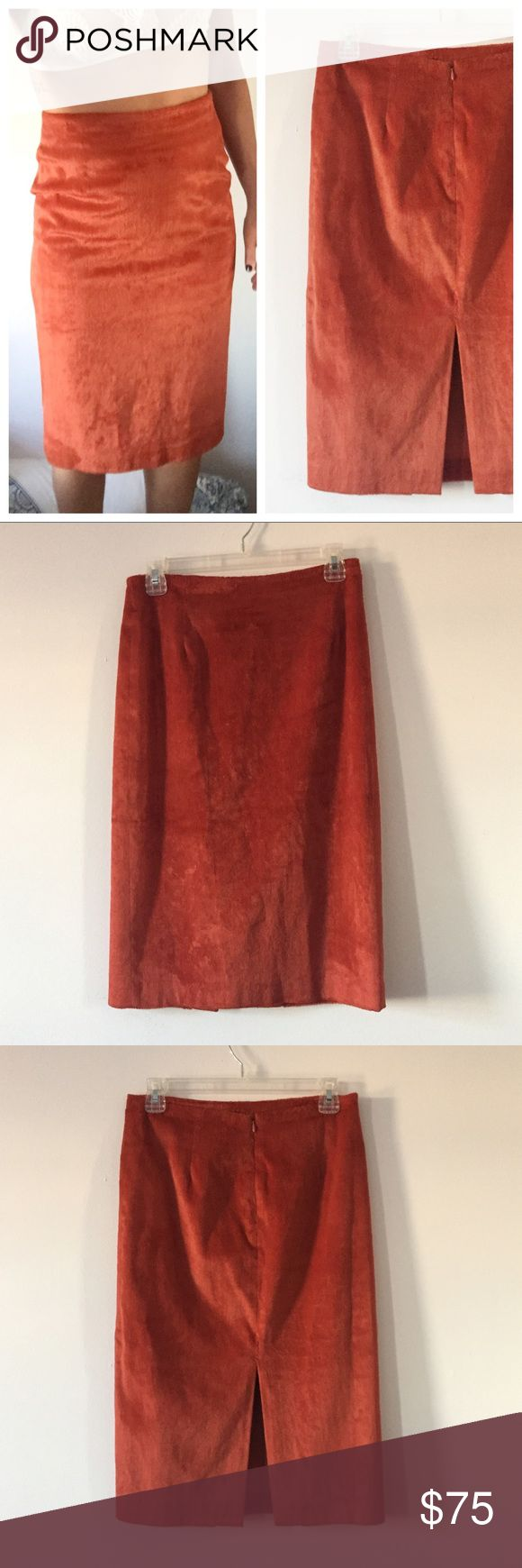 """Vintage • Burnt Orange High Waist Pencil Skirt This skirt is amazing and one of a kind. Vintage, tag was cut out so I don't know the brand. Size 6 but this is vintage sizing, so it runs smaller, please refer to measurements. Length is 26"""", waist is 14"""". Hips roughly 18"""" but changes with body type. I am a 26 waist and this fits me perfectly. Comes below the knees a fuzzy/faux suede feel! Some strings inside due to the age. Slit in back. Love this but have no use for it, will be extremely sad…"""