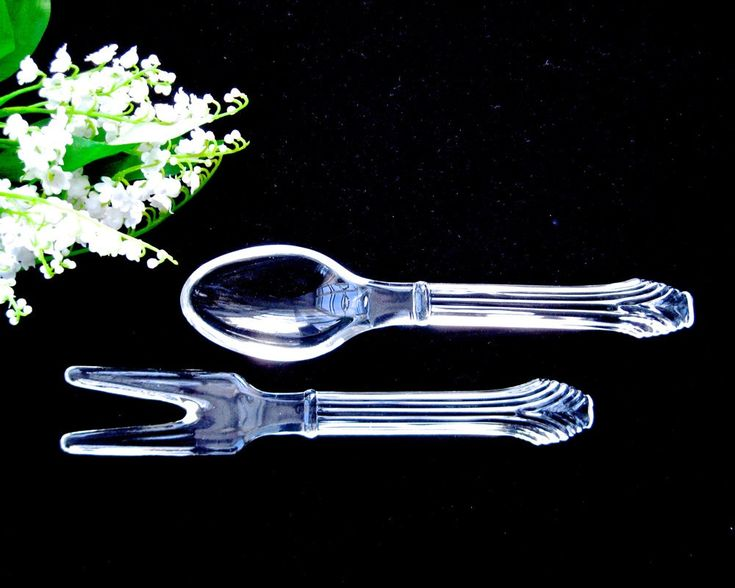 Set Vintage Glass Salad Servers • Clear Glass Spoon and Fork • Mid-Century • Corinthian Pattern by KatesChockfullAttic on Etsy