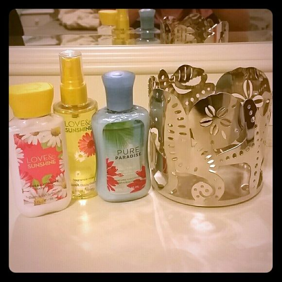Lotion, body spray & candle holder bundle Love & Sunshine body spray & lotion & Pure Paradise lotion from bath & body works. All travel size. Summer/beach style candle holder has sea horse, star fish & shells. Candle holder is from Kohls, but will fit a bath & body works candle as well. Everything brand new, never used! Bath & Body Works Other