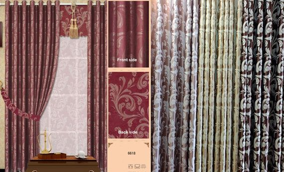 Triple Weave Damask Blackout Window Curtains Made To Order. A Pair of…