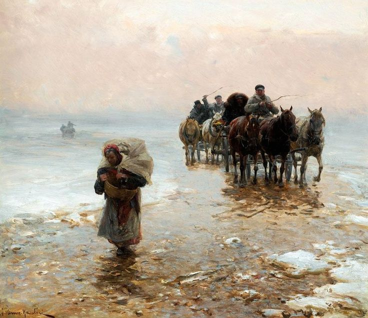 Alfred von Wierusz-Kowalski (Polish painter) 1849 - 1915 Returning from the Market in Winter, s.d. oil on panel