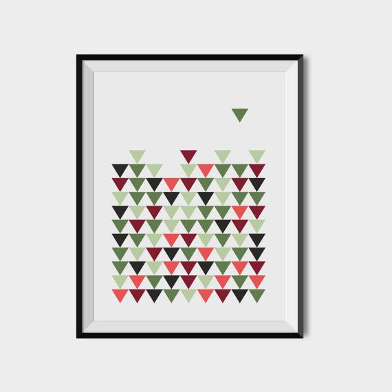 Triangles wall art Printable geometric decor by 2eggsProject