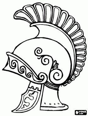 Een helm van een Romeinse centurion. Een hoofdman was een professionele bevelhebber van een centuria in het Romeinse leger kleurplaat