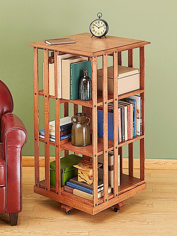 Revolving Danner-inspired Bookcase Woodworking Plan from WOOD Magazine