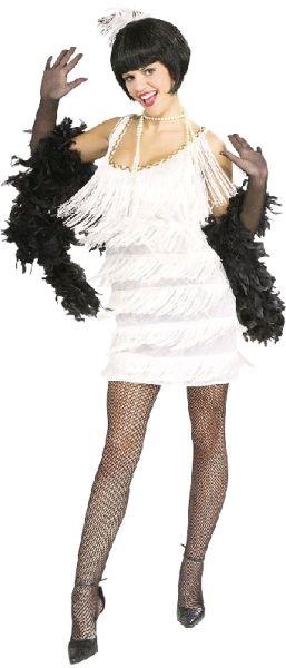 Rubies Womens Twenties 1920'S Broadway Babe White Flapper Costume Dress - Medium