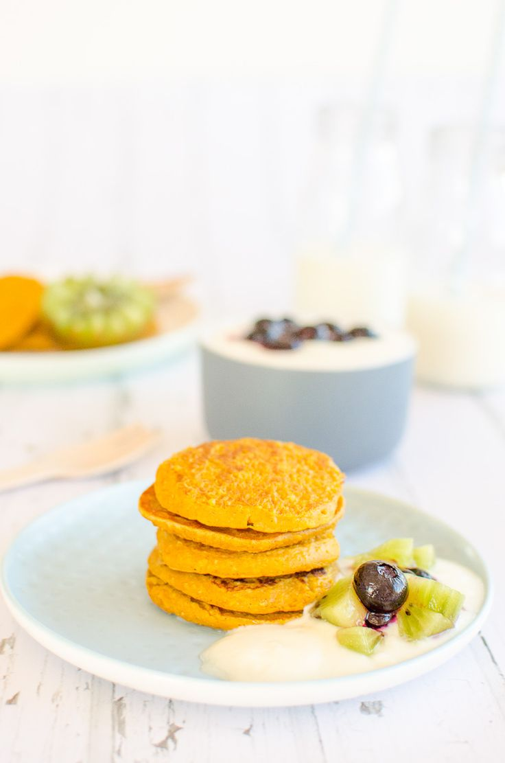 Wheat-free pumpkin pancakes perfect for kids and baby led weaning, Veggies at breakfast or afternoon tea
