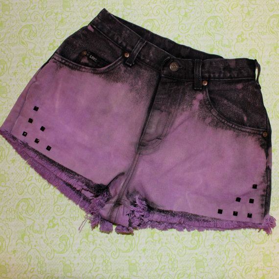 vintage purple and black ombre dip dye shorts by SewOeno on Etsy, $22.00