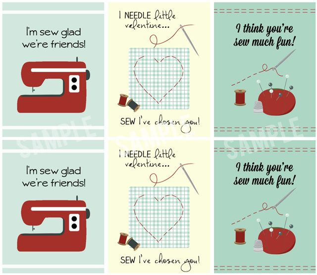Sew Adorable Printable Valentines Cards