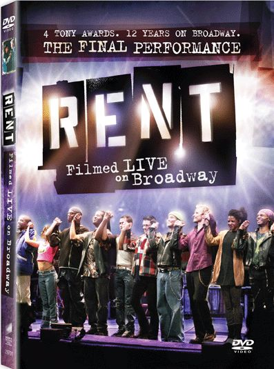 """Rent: Filmed Live on Broadway - the Final Performance"" DVD. Color, Dolby, Widescreen, 165 minutes, 1 disc. Released February 3rd, 2009. Music, lyrics, and book by Jonathon Larson. Starring Will Chase as Roger, Adam Kantor as Mark, Michael McElroy..."