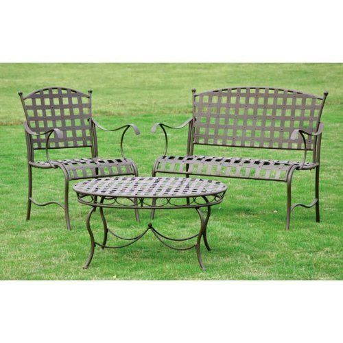 "Santa Fe Nailhead Iron Settee Group 3-Piece Set by Brookstone. $278.85. Elegant style will bring an added dimension to your yard space. This iron furniture features a powder coat painted finish for weather resistance. Size: 41""W x 36""H x 19""D. Includes a table, chair and a loveseat. Color: Matte Brown. Santa Fe Nailhead Iron Settee Group 3-Piece Set. Enhances the beauty of any patio or garden area! The Santa Fe Nailhead Iron Settee Group 3 Piece Set is made of durab..."
