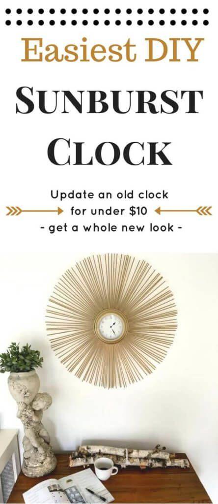 Easy Sunburst Clock DIY