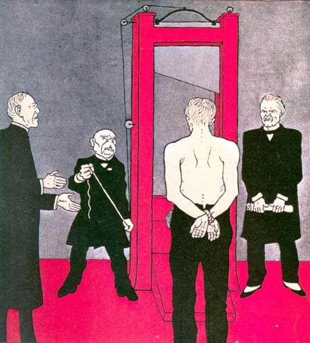This cartoon appeared in the German satirical magazine Simplissimus, 3 June 1919. Wilson appears to be reasonable.  Clemenceau is holding a rope. Lloyd George is holding the treaty which represents destruction of Germany.  The victim (Germany) has his hands behind his back.