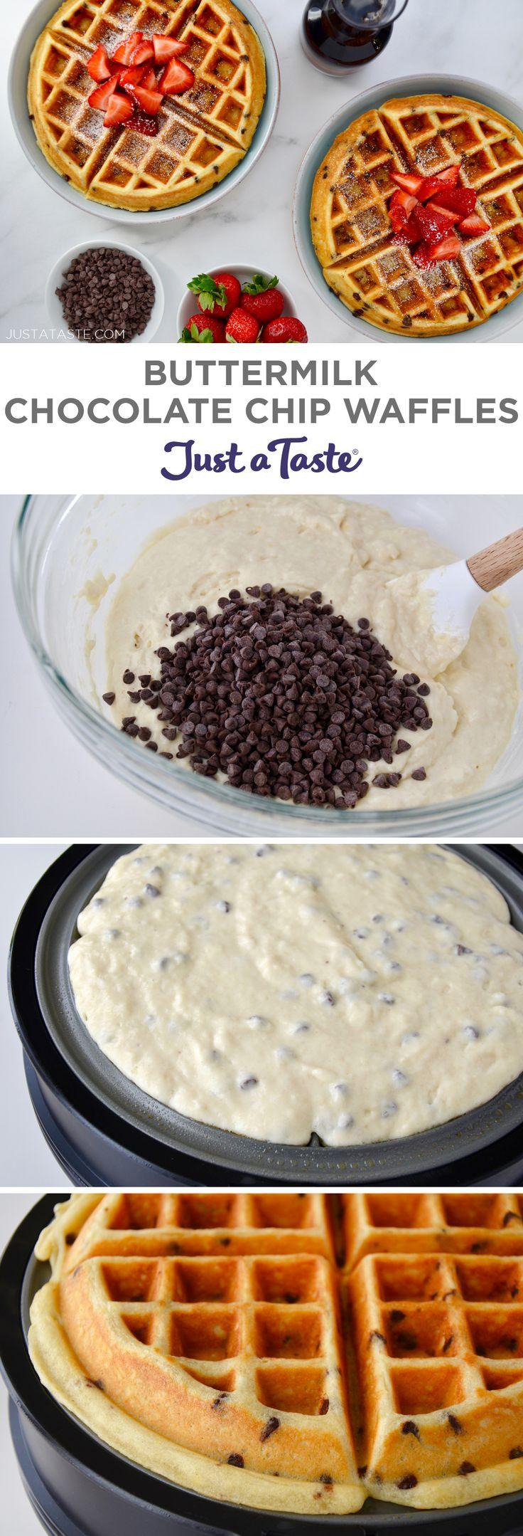 Buttermilk Chocolate Chip Waffles #recipe via justataste.com #waffles #breakfastrecipes