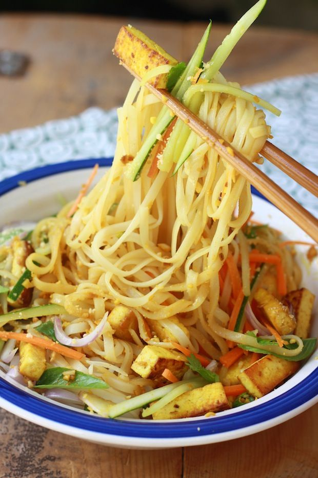 Rice Noodle Salad with Spicy Lemongrass Dressing - Vegan