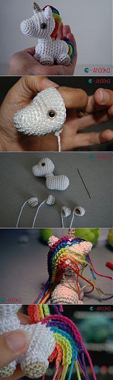 Free Unicorn crochet pattern! Mini licorne arc-en-ciel au crochet – modèle gr...