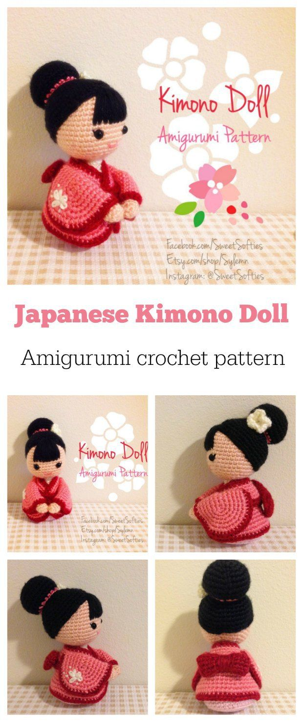 Super-cute Kimono Doll amigurumi crochet pattern.  japanese amigurumi crochet tejido ganchillo fiber art traditional kokeshi heirloom geisha kimono cultural heritage