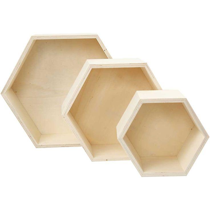 Förvaringslådor, H: 14,8+19+24,2 cm, plywood, sexkantiga, 3mixade