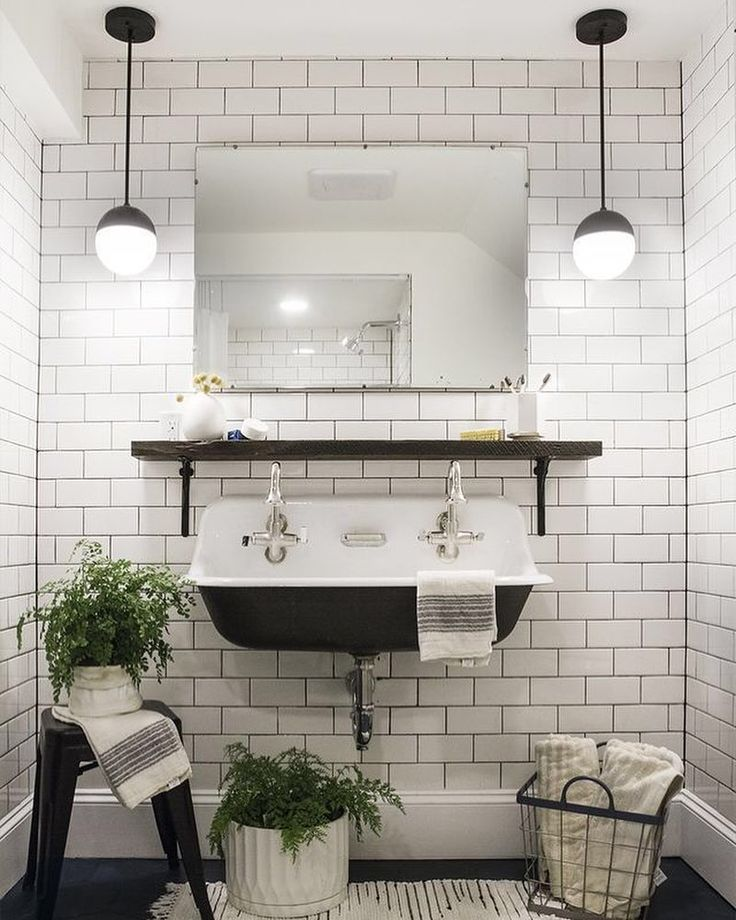 White Subway Tile Accent Wall With Black Grout Bathrooms