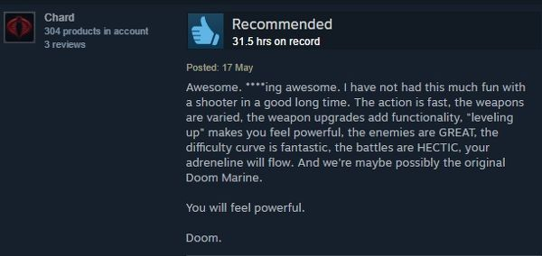 The new Doom campaign turns around Steam user reviews