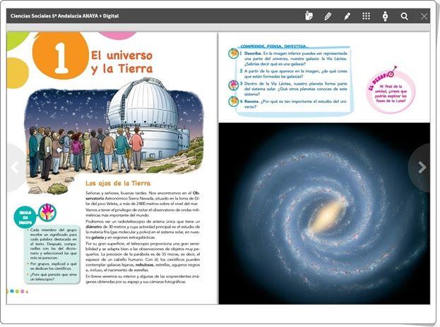 """Unidad 1 de Ciencias Sociales de 5º de Primaria: """"El Universo y la Tierra"""" (Anaya + Digital y Anaya On)"""