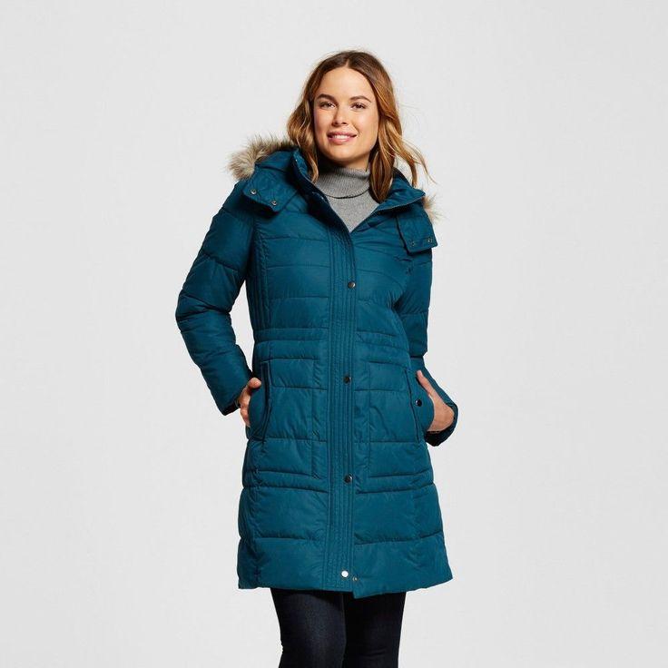 Women's Puffer Coat With Faux Fur Trim Teal (Blue) Xxl - Merona