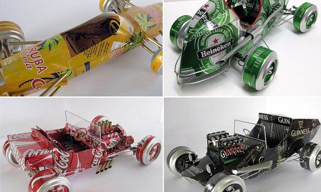Designer turns used beer & coke cans into scale models of classic cars