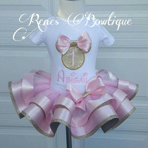Oro y rosa Minnie Mouse cinta tutú conjunto por RenesBowtique
