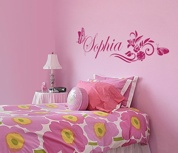 Personalized kids girl wall decal sticker wilth butterflies and flowers