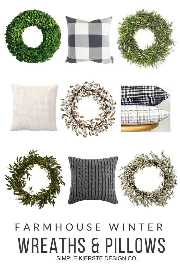 Farmhouse Winter Decor: Wreaths & Pillows   simplykierste.com #farmhousestyle #f...