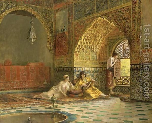 Edwin Lord Weeks:Interior of La Torre des Infantas, illustrating the legend of the three Moorish princesses, in Washington Irving's 'The Alhambra'