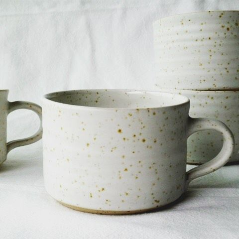New mugs in a white soft matt glaze. #mugs #stoneware #ceramics #handmade #pottery #Töpferei #handgetöpfert #Hamburg