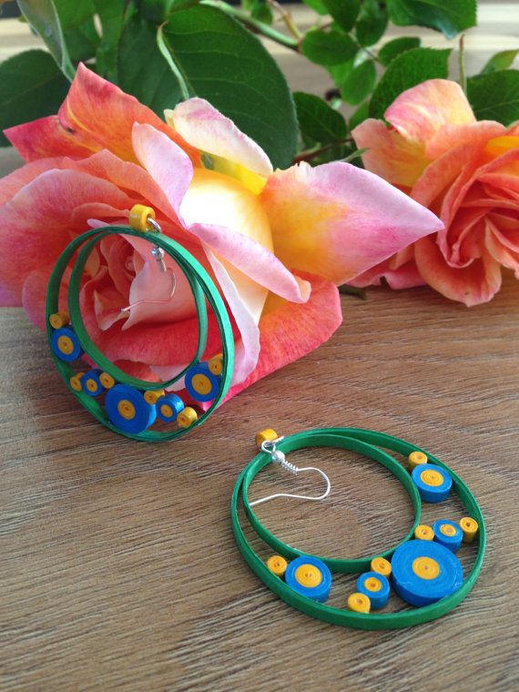 Handmade paper quilled earrings ♥ by PAPERCRIB on Etsy