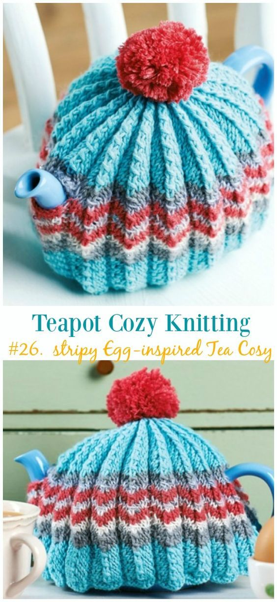 Retro Easter Stripy Egg Inspired Tea Cosy Free Knitting Pattern