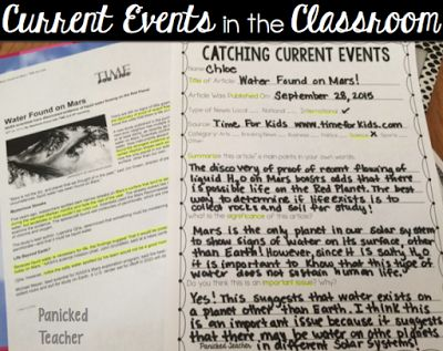 Free Template for incorporating Current Events into your day!