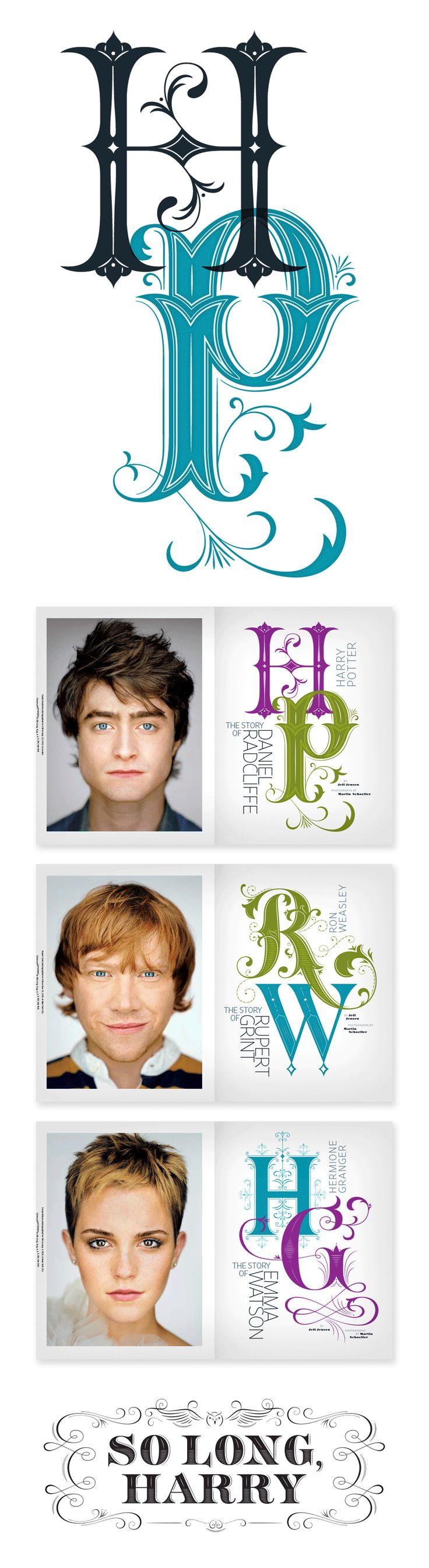 "Harry Potter work by Jessica Hische for ""Entertainment Weekly"" - #typography #design #layout"