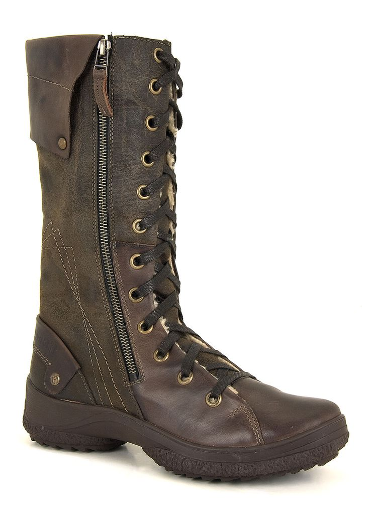 Spike Lady 101 (Espresso) - Practical, retractible: tall boots with hidden ice spikes