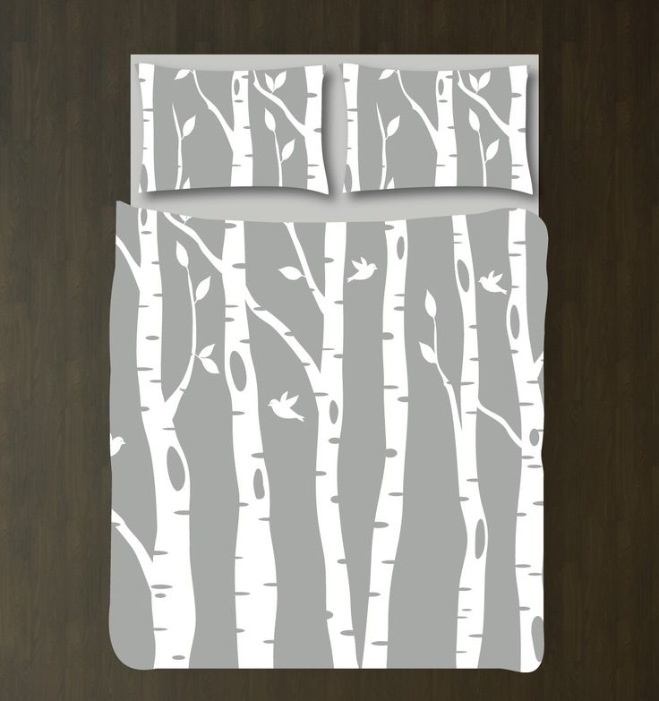 Custom Birch Tree Duvet Cover and Shams Bedding Set-Grey-White-CUSTOMIZE COLORS-Daybed/Twin XL/Full/Queen/King-Room-Home Decor-Outdoors-Size by GatheredNestDesigns on Etsy https://www.etsy.com/listing/209803694/custom-birch-tree-duvet-cover-and-shams