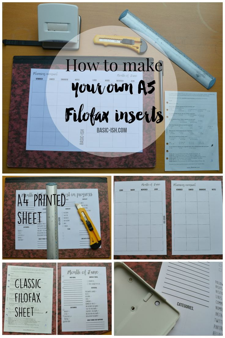How to make your own A5 Filofax inserts. More details on www.basic-ish.com