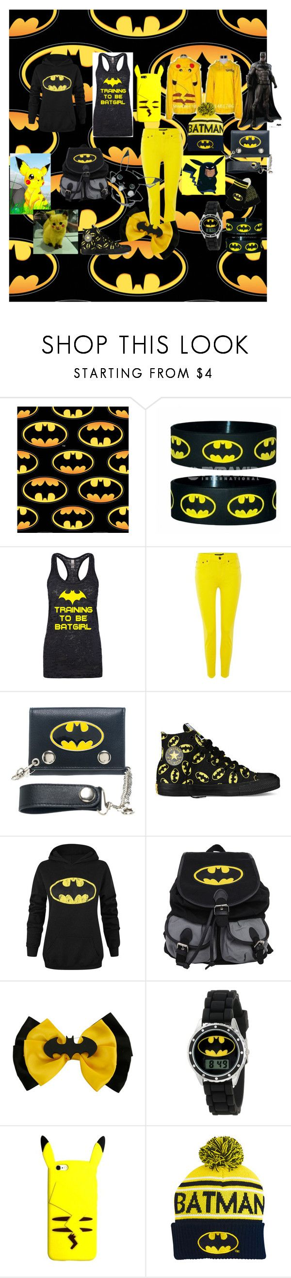 """Batman/Pikachu"" by skullmaster ❤ liked on Polyvore featuring Lauren Ralph Lauren, Bioworld and Converse"