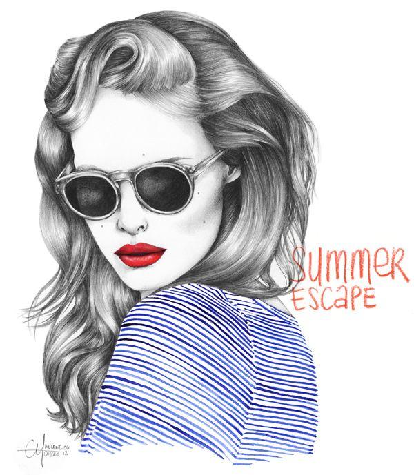 Illustration by Hélène Cayre. Envie de soleil, envie de vacances.