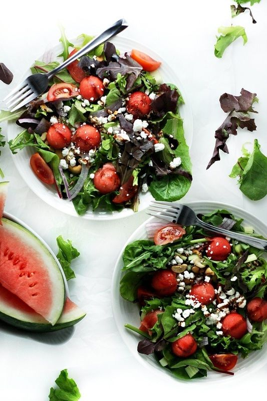 Summer Watermelon Salad with Basil, Goat Cheese and Balsamic Vinaigrette