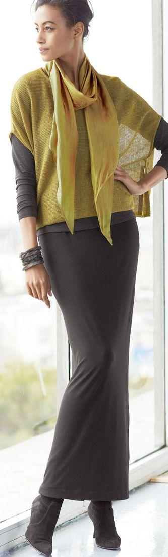 Big shawl, pencil maxi skirt